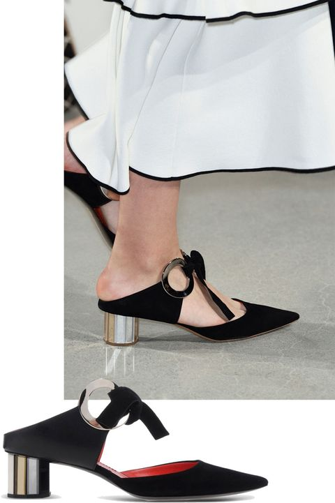 """<p><strong>Proenza Schouler </strong>shoe, $<del>995</del> $498, <a href=""""https://shop.harpersbazaar.com/designers/p/proenza-schouler/black-grommet-clog-8850.html"""" target=""""_blank""""><strong>shopBAZAAR.com</strong></a>. </p>"""