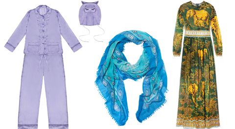 "<p>""Pashmina shawls and Valentino's elephant-print dress are good for covering up.""</p><p><strong>Morv London</strong> pajama-and-eye-mask set, $540, <a href=""http://www.selfridges.com/US/en/"" target=""_blank"">selfridges.com</a>; <strong>T+C Theodora & Callum</strong> scarf, $48, 212-391-3344; <strong>Valentino </strong>Garavani gown, $5,350, <a href=""http://www.valentino.com/us"" target=""_blank"">valentino.com</a>. <br></p>"