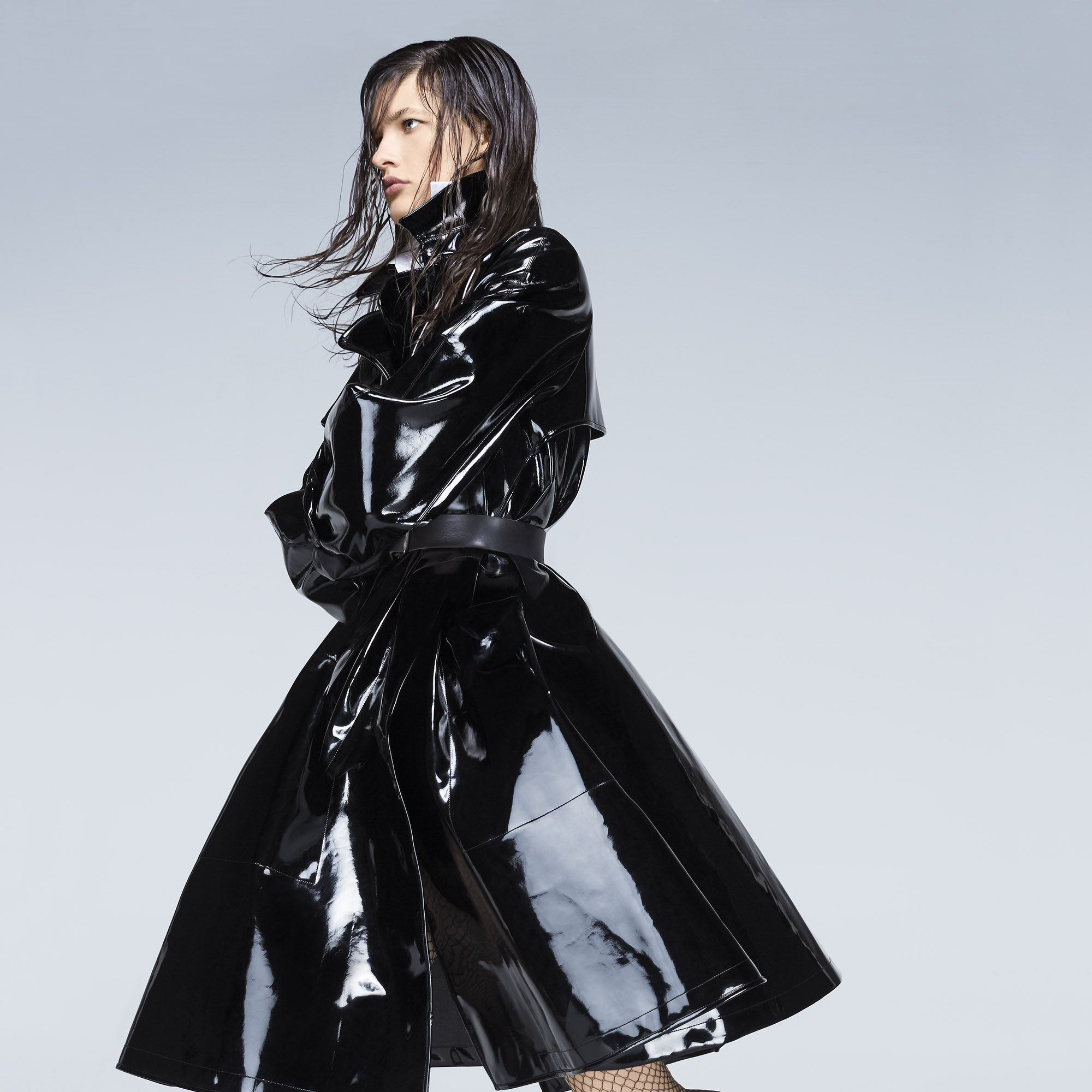 """<p><strong>Giorgio Armani </strong>coat, $6,195, and shirt, $825, 212-988-9191&#x3B; Stylist's own belt&#x3B; <strong>Wolford</strong> tights, $57, and socks, $29, <a href=""""http://company.wolford.com/?lang=en"""" target=""""_blank"""">wolford.com</a>&#x3B; <strong>Grenson</strong> shoes, $420, <a href=""""http://www.grenson.com/us/"""" target=""""_blank"""">grenson.com</a>. </p>"""