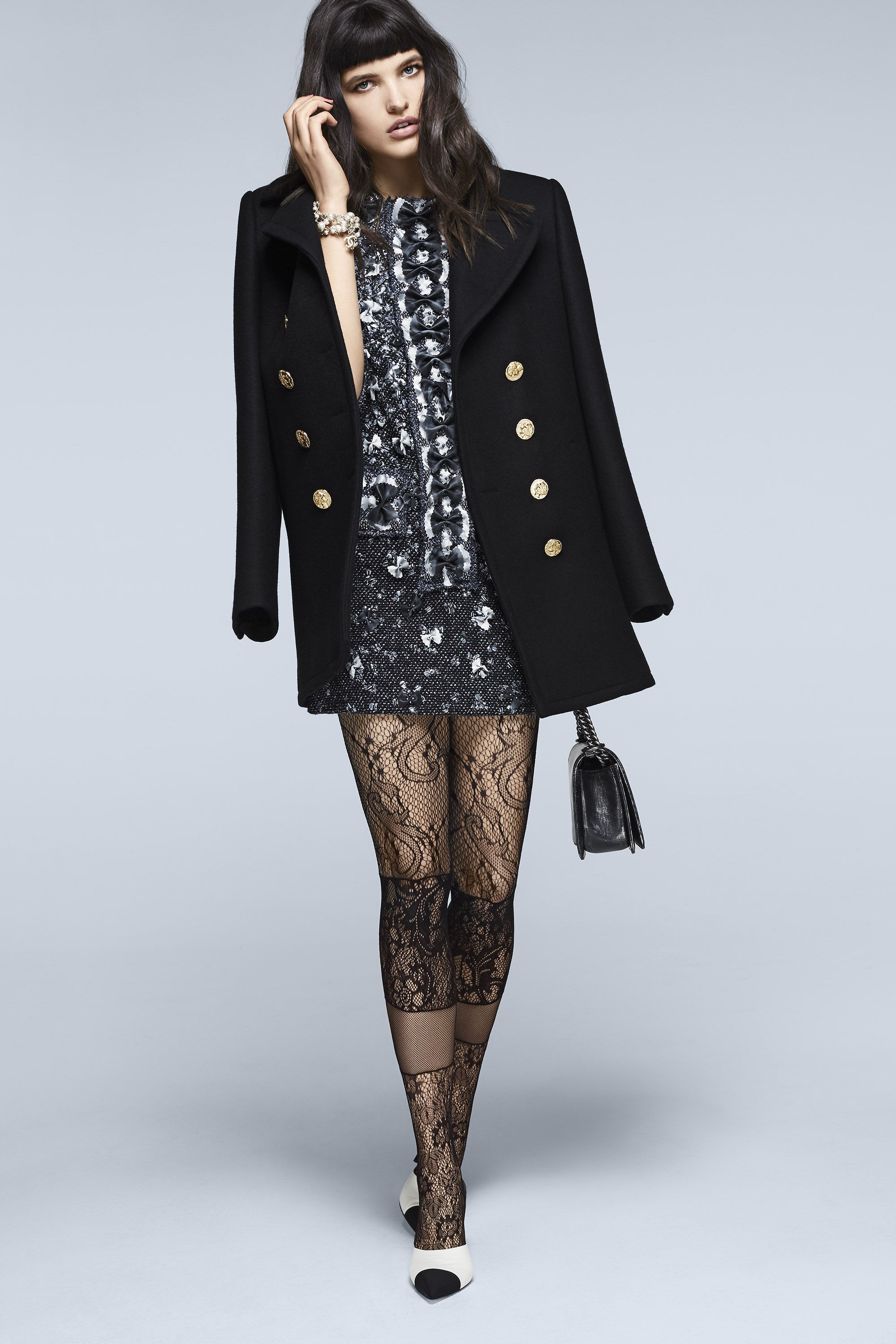 "<p><strong>Chanel </strong>coat, $5,850, tunic, $36,600, necklace (worn as bracelet), $1,475, bag, $7,500, tights, $375, and shoes, $1,100, 800-550-0005.</p><p><strong>BEAUTY BAZAAR: </strong><a href=""http://www.ulta.com/ulta/browse/productDetail.jsp?productId=xlsImpprod12292013"" target=""_blank"">Rusk Volumizing Mousse</a> delivers instant oomph ($18).</p>"