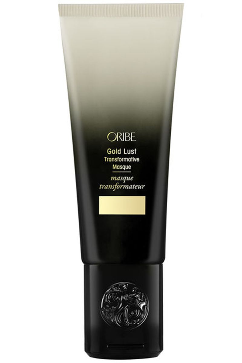 "<p>White tea, baobob and jasmine extract rebuild each strand while the chic tube ups your shower shelf game.<br> </p><p><strong>Oribe</strong> Gold Lust Transformative Mask, $65, <strong><a href=""Charting: 10 Hair Masks You'll Want to Use More than Conditioner "" target=""_blank"">barneys.com</a>.</strong></p>"