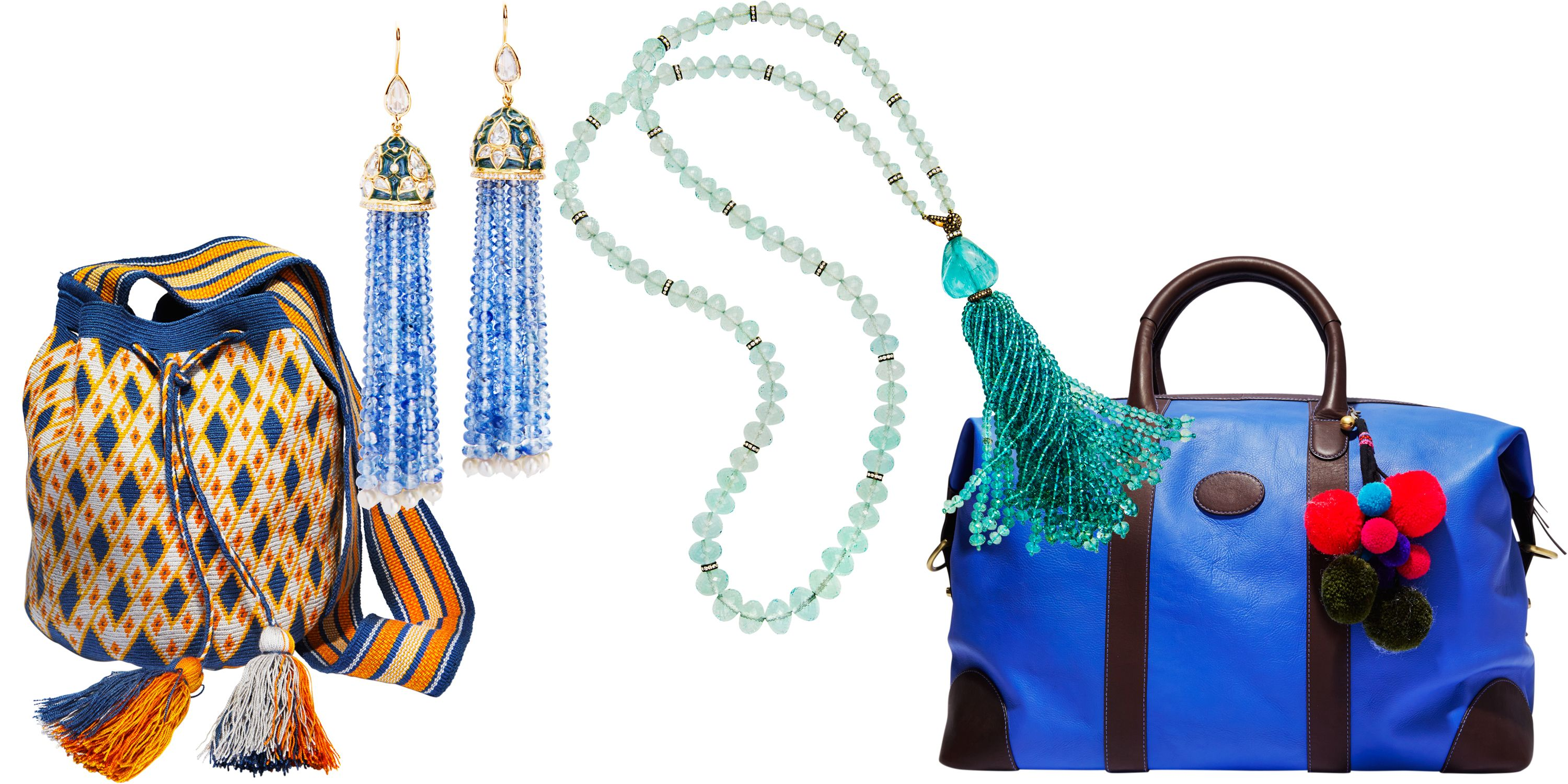 "<p>""My Debonnaire luggage—with their all-important luggage tags—to bring back jewelry finds from the Gem Palace.""</p><p><strong>Miss Mochila</strong> bag, $325, 888-774-2424; <strong>Munnu the Gem Palace</strong> earrings, price upon request, 212-861-0808; <strong>Munnu the Gem Palace </strong>necklace, price upon request, 212-861-0808; <strong>Debonnaire</strong> luggage, $750, <a href=""http://www.debonnaire.com/"" target=""_blank"">debonnaire.com</a>. <span class=""redactor-invisible-space""></span></p>"