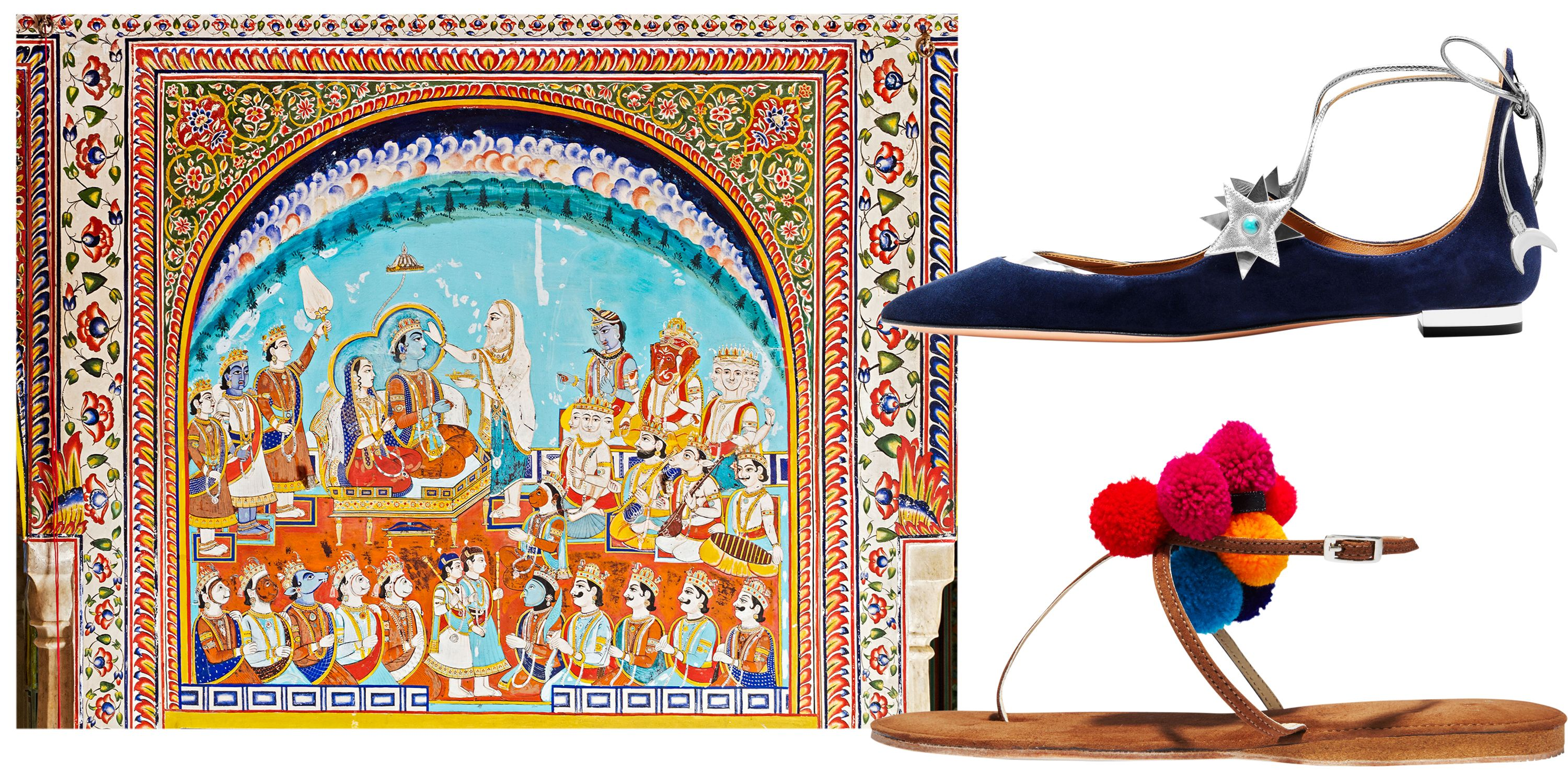 "<p>""Debonnaire suede sandals for a day trip to see the wall paintings at Samode Palace in Jaipur, and Aquazzura x Poppy Delevingne shoes for a dinner at Umaid Bhawan Palace in Jodhpur.""</p><p>Murals at Samode Palace; <strong>Aquazzura</strong> shoes, $595, 877-551-7257; <strong>Debonnaire</strong> sandals, $135, <a href=""http://www.debonnaire.com/"" target=""_blank"">debonnaire.com</a>. </p>"