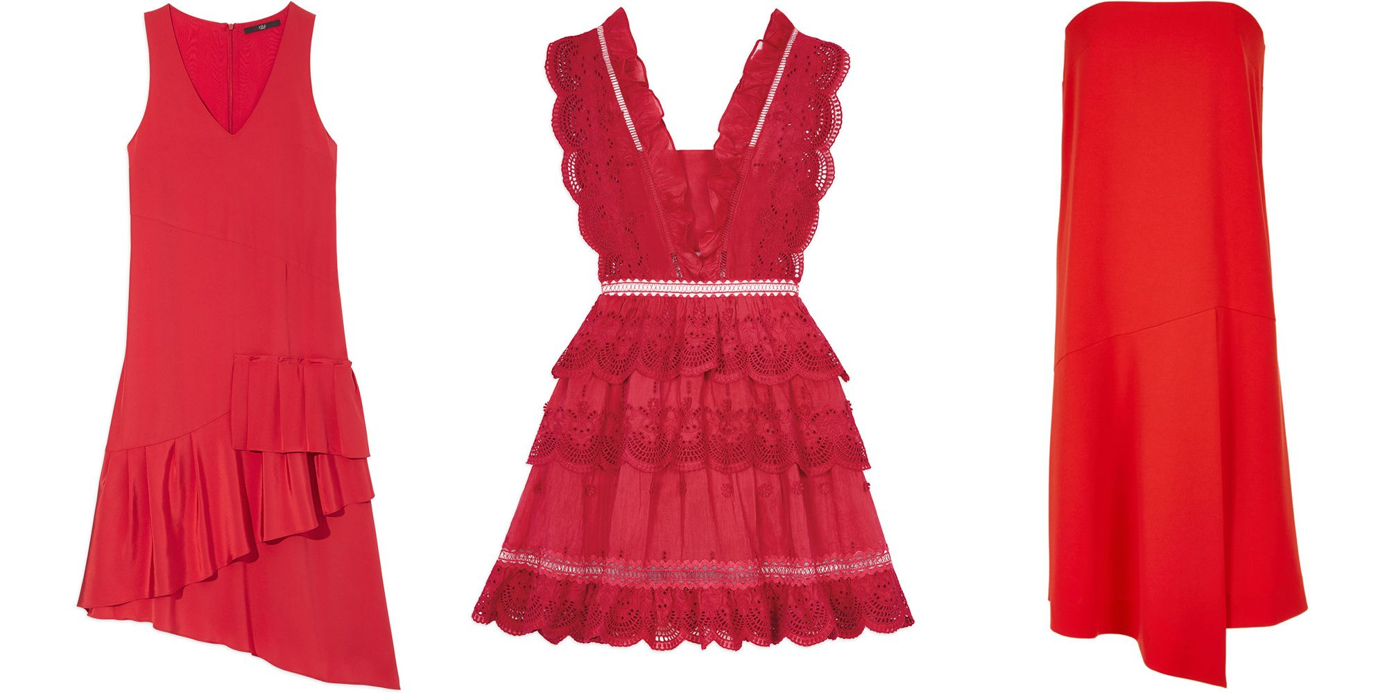 "<p>The little red dress seduces time, and time, again. </p><p><br></p><p><em><strong>Tibi</strong>  ruffle dress, $650, <strong><a href=""https://shop.harpersbazaar.com/designers/t/tibi/silk-v-neck-ruffle-dress-9253.html"" target=""_blank"">shopBAZAAR.com</a></strong>; <strong>Self-Portrait</strong> tiered peplum dress, $540, <strong><a href=""https://shop.harpersbazaar.com/designers/s/self-portrait/three-tiered-peplum-lace-dress-9261.html"" target=""_blank"">shopBAZAAR.com</a></strong>; <strong>Tibi</strong> structured strapless dress, $425, <strong><a href=""https://shop.harpersbazaar.com/designers/t/tibi/structured-crepe-strapless-drape-dress-7953.html"" target=""_blank"">shopBAZAAR.com</a></strong>. </em></p><p><br></p>"