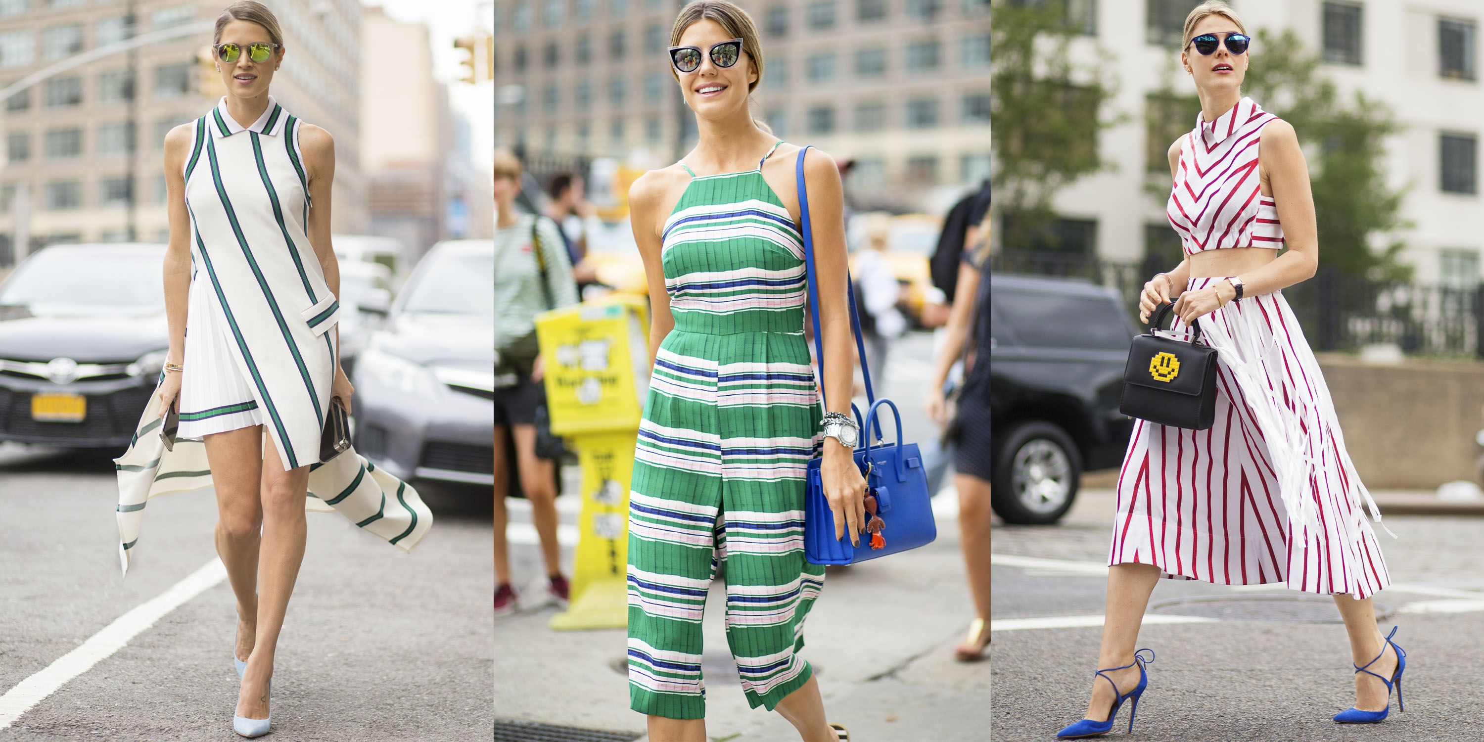 <p>Colorful stripes are a must-have for summer. Take your cue from bloggers Helena Bordon and Sofie Valkiers and wear them with equally poppy extras and statement sunnies.</p>
