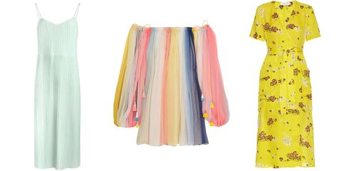 Yellow, Textile, Pattern, Style, Fashion, Aqua, Orange, Day dress, One-piece garment, Fashion design,
