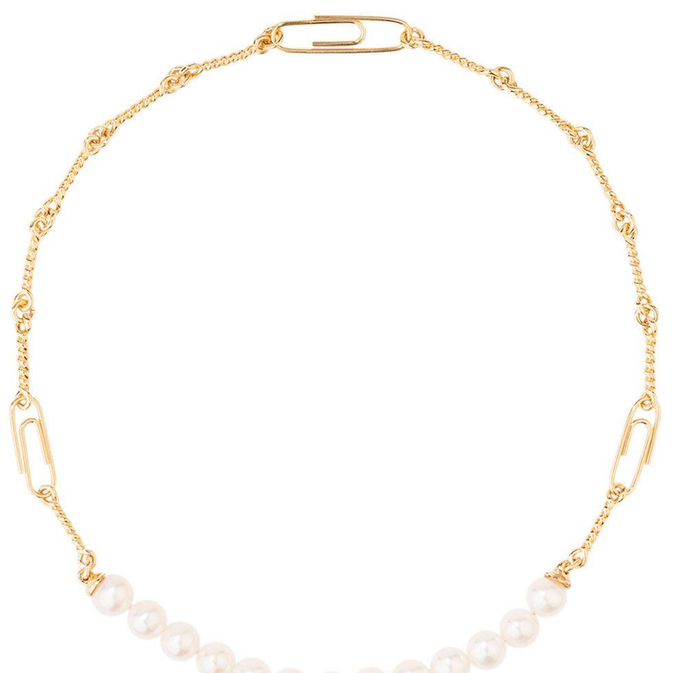 "<p><em>Pearl and gold choker&#x3B; $585, <a href="" shopBAZAAR.com"" target=""_blank"">shopBAZAAR.com</a></em></p>"