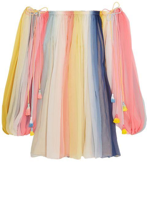 "<p><strong>Chloe </strong>dress, $3,995, <a href=""https://www.net-a-porter.com/us/en/product/685075/chloe/off-the-shoulder-striped-silk-crepon-mini-dress"" target=""_blank"">net-a-porter.com</a>.</p>"
