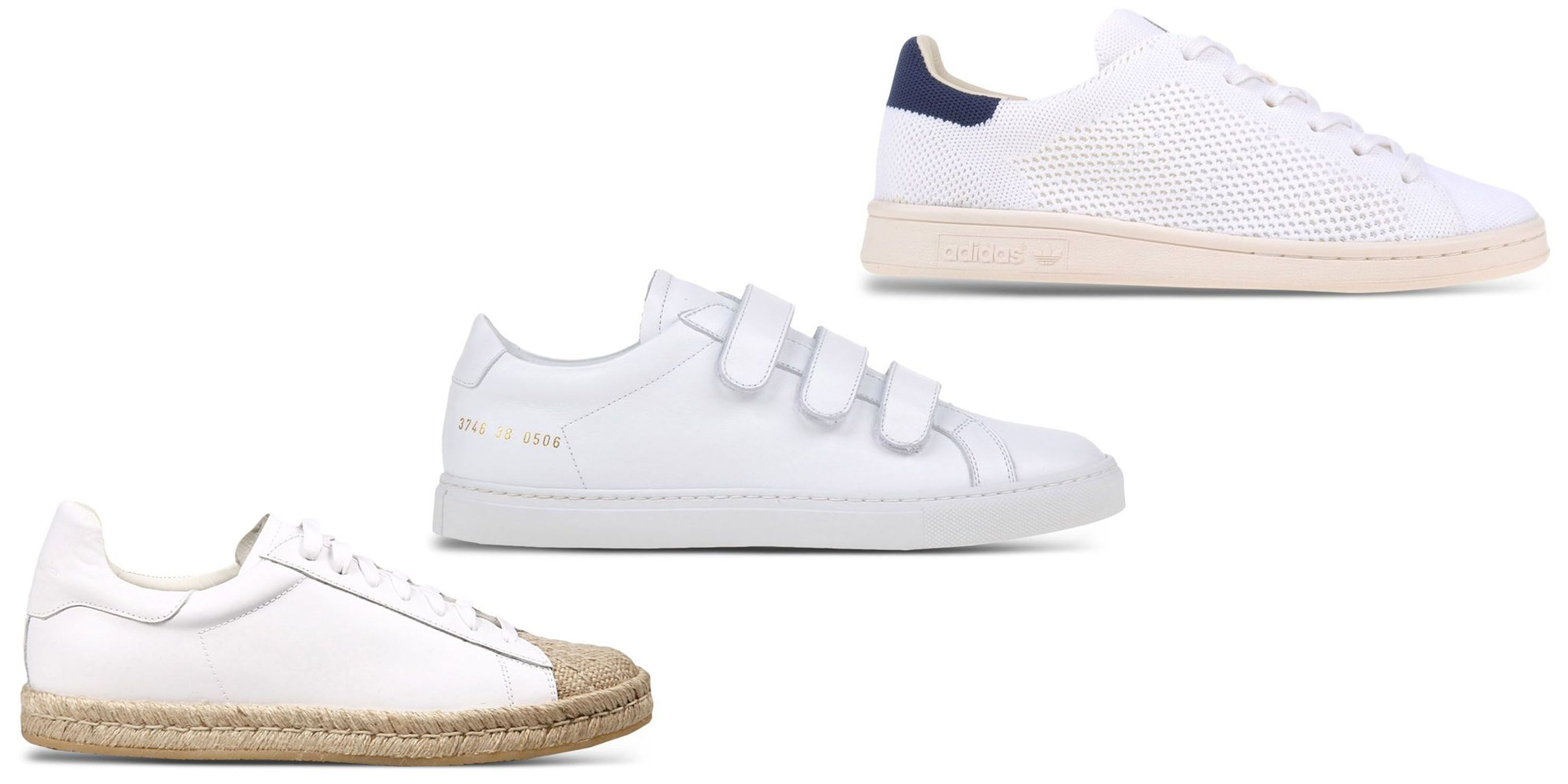 "<p>Whether you're lounging around or playing ball, white sneakers are both on-point and practical. </p><p><br></p><p><em><strong>Alexander Wang </strong>espadrille sneaker, $455,<strong> <a href=""https://shop.harpersbazaar.com/designers/a/alexander-wang/white-espadrille-sneaker-8857.html"" target=""_blank"">shopBAZAAR.com</a></strong></em><span class=""redactor-invisible-space""><em>; <strong>Woman by Common Project</strong>s sneaker, $435, <strong><a href=""https://shop.harpersbazaar.com/designers/w/woman-by-common-projects/white-velcro-low-top-sneaker-8870.html"" target=""_blank"">shopBAZAAR.com</a></strong></em><span class=""redactor-invisible-space""><em><strong><a href=""https://shop.harpersbazaar.com/designers/w/woman-by-common-projects/white-velcro-low-top-sneaker-8870.html""></a></strong>; <strong>Adidas Originals</strong> sneaker, $130, <strong><a href=""https://shop.harpersbazaar.com/designers/a/adidas-originals/white-low-top-sneaker-9081.html"" target=""_blank"">shopBAZAAR.com</a></strong></em><span class=""redactor-invisible-space""><em>.</em></span></span><br></span></p>"