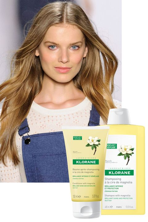"""<p><strong>LOOK FOR:</strong> Ingredients like magnolia extract, which not only flattens out the cuticle, but also infuses moisture and allows hair to naturally reflect more light. </p><p><strong>TRY:</strong> <strong>Klorane </strong>Shampoo with Magnolia, <a href=""""http://www.kloraneusa.com/shampoo-with-magnolia-13-4-fl-oz"""" target=""""_blank"""">kloraneusa.com</a>;  Conditioner with Magnolia, <a href=""""http://www.kloraneusa.com/conditioner-with-magnolia"""" target=""""_blank"""">kloraneusa.com</a>. </p>"""