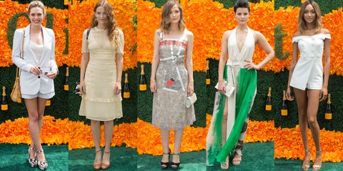 Orange, Yellow, Trousers, Dress, Leaf, Amber, Flooring, Fashion, One-piece garment, Red hair,