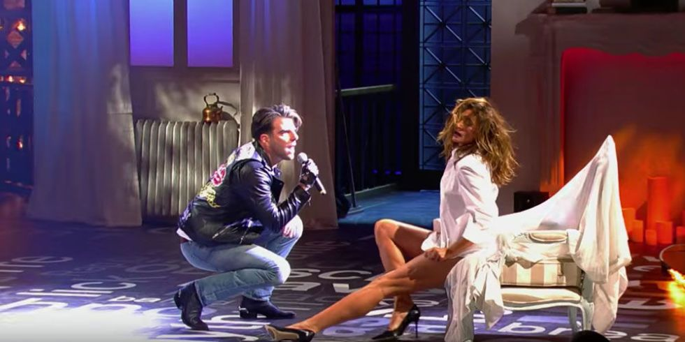 Cindy Crawford Stars In Zachary Quinto S Lip Sync Battle