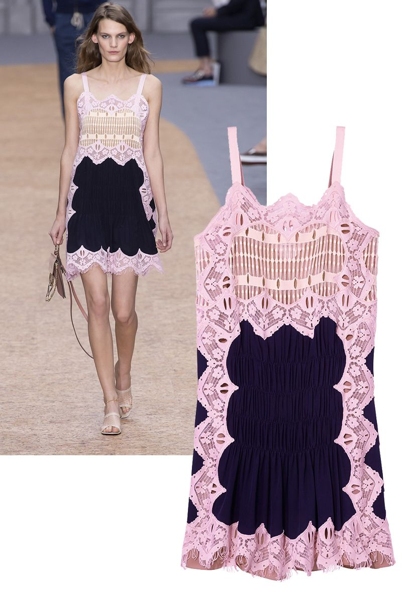 """<p>When the sun goes down, a little color can go a long way. This pastel find works from day-to-dance-floor thanks to the navy paneling. </p><p><br></p><p><em>Chloé</em><em> navy and pink lace dress, $3,450, <a href=""""https://shop.harpersbazaar.com/designers/c/chlo/crepe-de-chine-8337.html"""" target=""""_blank"""">shopBAZAAR.com</a>. </em></p>"""