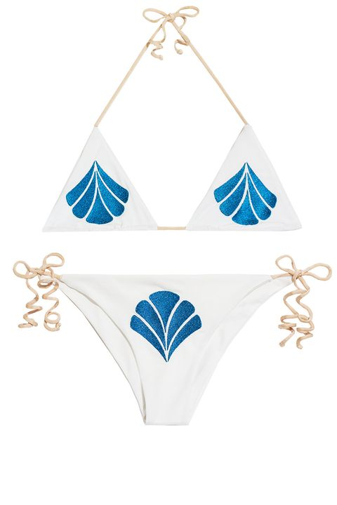 "<p><strong>Cali Dreaming</strong> <a href=""http://cali-dreaming.com/collections/foundations/products/aries-top-white-blue-shell"" target=""_blank"">bikini top</a>, $125; <a href=""http://cali-dreaming.com/products/dorado-bottom-white-blue-shell"" target=""_blank"">bottom</a>, $125, cali-dreaming.com.</p>"