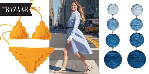 Blue, Human leg, Dress, Style, Street fashion, Electric blue, Fashion accessory, Bag, Slipper, Fashion,