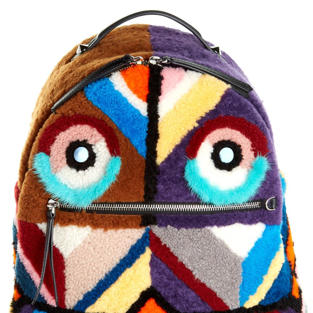 """<p><strong>Fendi</strong> backpack, $3,850, <a href=""""http://www.matchesfashion.com/us/products/Fendi-Shearling-and-fur-backpack--1051611"""" target=""""_blank"""">matchesfashion.com</a>. </p>"""