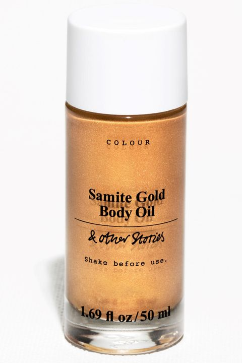 "<p>Don't let the blindingly bright gold color put you off: The fine shimmer goes on subtly and does to the shins of your legs what highlighter does to your cheekbones. </p><p><strong>& Other Stories</strong> Samite Gold Shimmer Body Oil, $29, <a href=""http://www.stories.com/us/Beauty/Bath_Body/Body_moisturisers/Samite_Gold_Shimmer_Body_Oil/590727-102621600.1"" target=""_blank"">stories.com</a>.</p>"
