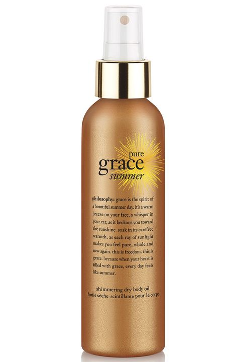 """<p>Apply a regular body oil to your legs post-shower on a summer morning and they'll still feel slick when you get to work. But a dry oil moisturizes your skin without any greasiness. You can mist it directly on your legs, but spray it into your hands first for more control around the arms and chest. </p><p><strong>Philosophy</strong> Pure Grace Summer Shimmering Dry Body Oil, $30, <a href=""""http://www.philosophy.com/pure-grace-summer-body-spritz.html"""" target=""""_blank"""">philosophy.com</a>.</p>"""