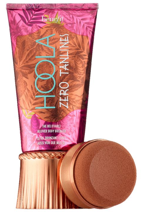 "<p>For the most believable 12-hour tan, you want a matte formula. This gel version comes with a plush sponge—use it to buff the bronzer on in big circular motions. </p><p><strong>Benefit</strong> Hoola Zero Tanlines Allover Body Bronzer, $30, <a href=""http://www.sephora.com/hoola-zero-tanlines-allover-body-bronzer-P404615?skuId=1790427&om_mmc=ppc-GG&mkwid=sm1vRrQFE&pcrid=97594803159&pdv=c&site=_search&country_switch=&lang=en&gclid=CJXS2NC3pc0CFdcRgQod7qwKoA"" target=""_blank"">sephora.com</a>.</p>"