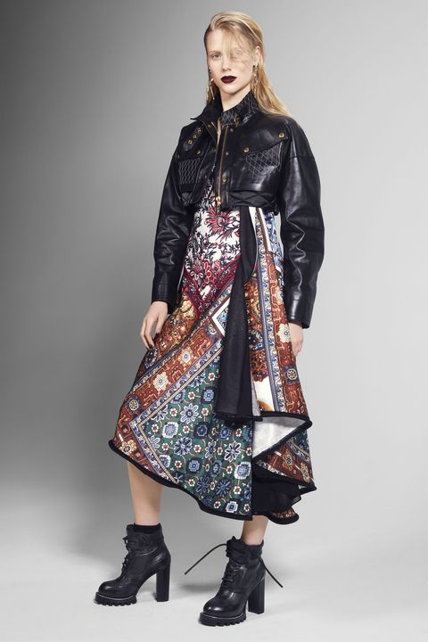 "<p>Contrast a feminine dress with a cropped moto.</p><p><strong>Louis Vuitton</strong> jacket, dress, earrings, and boots, prices upon request, 866-VUITTON.</p><p><strong>BEAUTY BAZAAR: </strong><a href=""http://us.amorepacific.com/time-response-eye-renewal-creme"" target=""_blank"">AmorePacific Time Response Eye Renewal Creme</a> brightens up eyes ($260).</p>"
