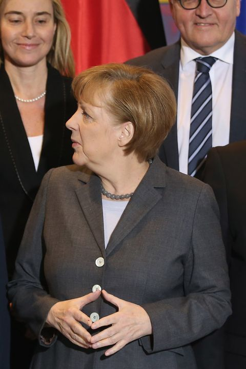 BERLIN, GERMANY - MARCH 17:  German Chancellor Angela Merkel and Italian Prime Minister Matteo Rentzi attend a group photo during German and Italian government consultations at the Chancellery on March 17, 2014 in Berlin, Germany. This is the first meeting of its kind between the two governments since Renzi took office in February.  (Photo by Sean Gallup/Getty Images)