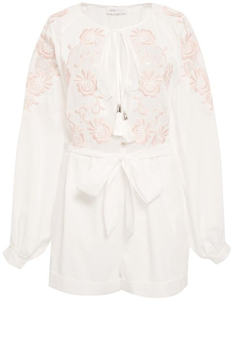 "<p><strong>Alice McCall </strong>romper, $170, <a href=""http://www.alicemccall.com/lolita-playsuit-white.html"" target=""_blank"">alicemccall.com</a>. </p>"