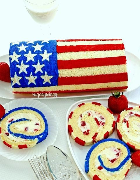 "<p>After you cut into this dessert, your guests won't be able to hold themselves back.</p><p>Get the recipe at <a href=""http://sugarywinzy.com/how-to-make-a-flag-roll-cake/"" target=""_blank"">Sugary Winzy.</a></p>"