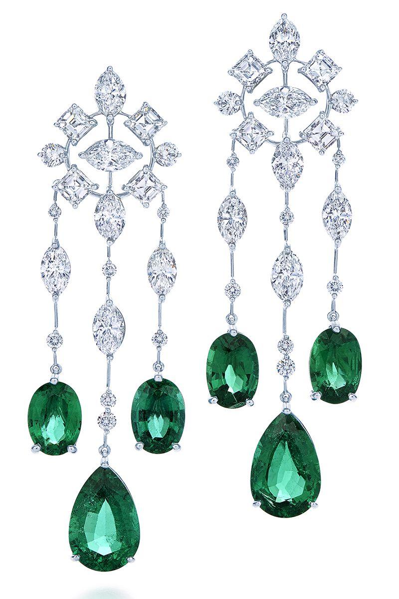 """<p>Kwiat """"Legacy"""" chandelier diamond and emerald earrings in platinum, $386,500, <a href=""""https://kwiat.com/product/earrings/4688/"""" target=""""_blank"""">kwiat.com.</a></p>"""