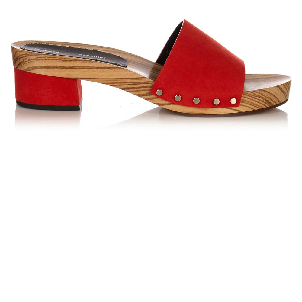 """<p><strong>Proenza Schouler</strong> sandal, $377, <a href=""""http://www.matchesfashion.com/us/products/Proenza-Schouler-Suede-block-heel-clog-slides-1056135"""" target=""""_blank"""">matchesfashion.com</a>. </p>"""