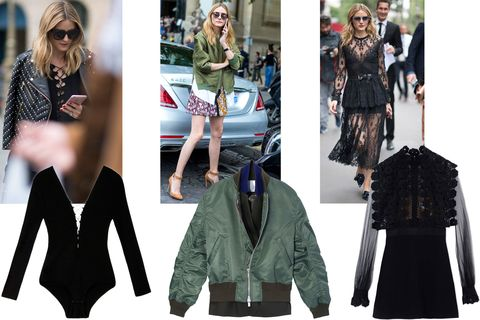 "<p>What Olivia Palermo wears, the fashion world follows.</p><p><em><br></em></p><p><em>T by Alexander Wang lace-up bodysuit, $172, <a href=""https://shop.harpersbazaar.com/designers/t/t-by-alexander-wang/top-8834.html"" target=""_blank"">shopBAZAAR.com</a>; Sacai bomber jacket, $1,115, <a href=""https://shop.harpersbazaar.com/designers/s/sacai/layered-baseball-jacket-8914.html"" target=""_blank"">shopBAZAAR.com</a>; Self-Portrait dress, $274 (sale), <a href=""https://shop.harpersbazaar.com/designers/s/self-portrait/black-lace-mini-9385.html"" target=""_blank"">shopBAZAAR.com</a>. </em><em></em></p>"