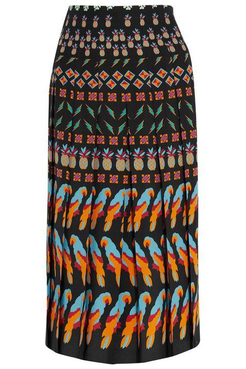 "<p><strong>Gucci</strong> skirt, $1,790, <a href=""https://www.net-a-porter.com/us/en/product/682449/gucci/pleated-printed-silk-skirt"" target=""_blank"">netaporter.com</a>. </p>"