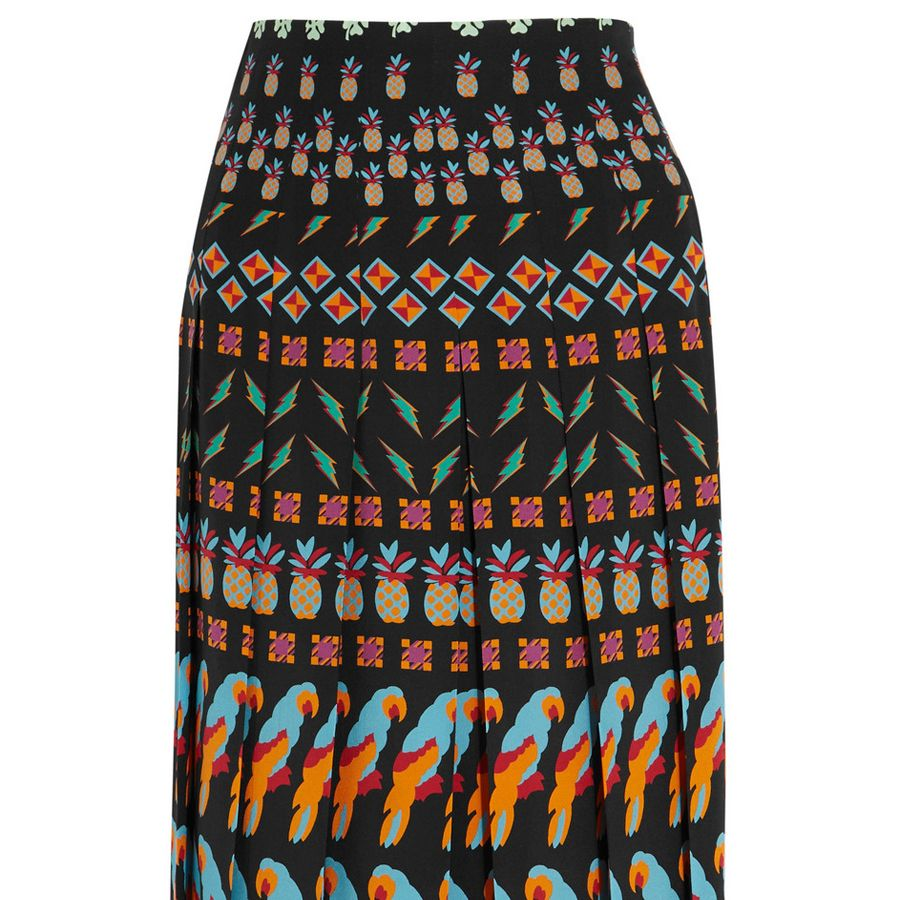 "<p><strong>Gucci</strong> skirt, $1,790, <a href=""https://www.net-a-porter.com/us/en/product/682449/gucci/pleated-printed-silk-skirt"" target=""_blank"">netaporter.com</a>. </p>"