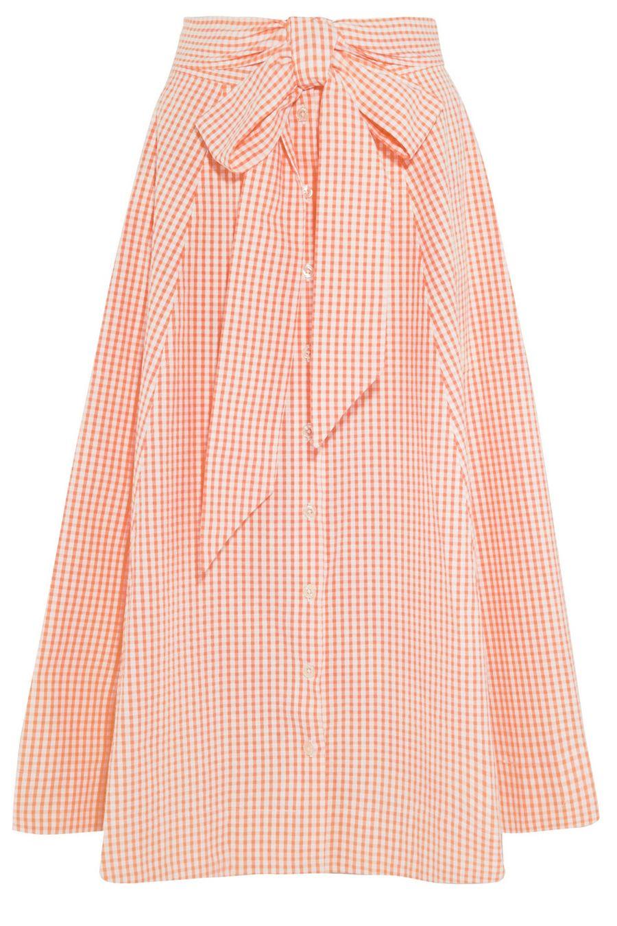 "<p><strong>Lisa Marie Fernandez</strong> skirt, $465, <a href=""https://www.net-a-porter.com/us/en/product/692070/lisa_marie_fernandez/pleated-gingham-cotton-midi-skirt"" target=""_blank"">netaporter.com</a>. </p>"