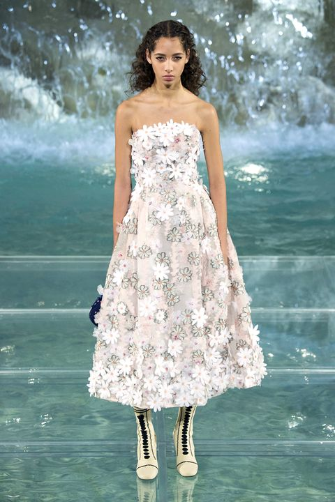 Clothing, Blue, Dress, Shoulder, Textile, White, One-piece garment, Formal wear, Waist, Day dress,
