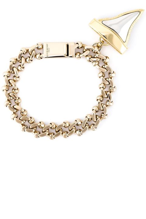 """<p><strong>Givenchy</strong> bracelet, $840, <a href=""""http://www.farfetch.com/shopping/women/givenchy--shark-tooth-bracelet-item-11099725.aspx?storeid=9541&from=search&ffref=lp_pic_661_1_"""" target=""""_blank"""">farfetch.com</a>. </p>"""