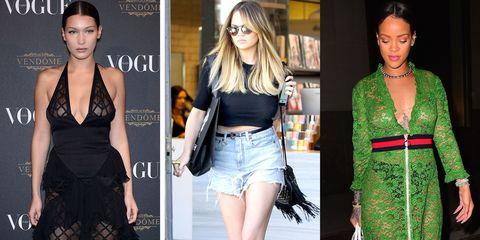 Clothing, Denim, Textile, Style, Waist, Beauty, Fashion model, Dress, Fashion, Earrings,