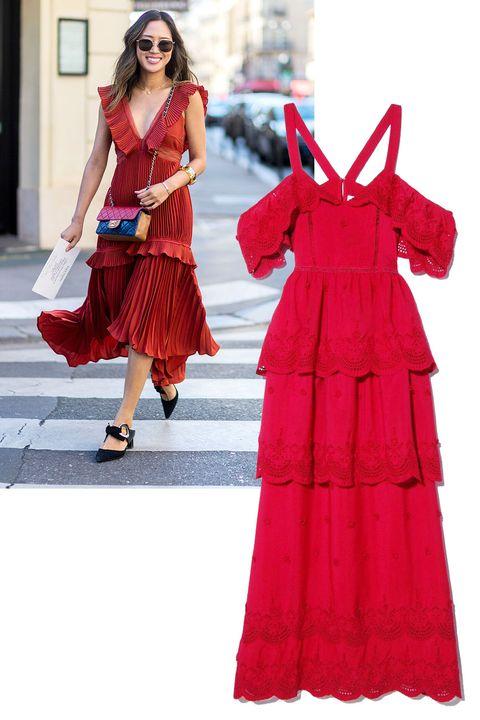 "<p><em>Self-Portrait dress, $625, <strong><a href=""https://shop.harpersbazaar.com/designers/s/self-portrait/raspberry-red-off-shoulder-dress-9590.html"" target=""_blank"">shopBAZAAR.com</a></strong>. </em></p>"