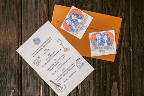 "<p>The couple's invitation, designed by <a href=""http://www.pstuller.com/"" target=""_blank"">Paul Tuller</a>, included illustrated temporary tattoos captioned with ""I'm in for #CAJWED"". Other than being a cute way to get the word out about their wedding hashtag, guests were asked to RSVP via text by sending a photo of themselves sporting their tattoo. </p>"