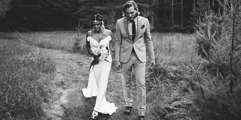 Dress, Photograph, Hat, Style, People in nature, Monochrome, Monochrome photography, Goggles, Bride, Love,