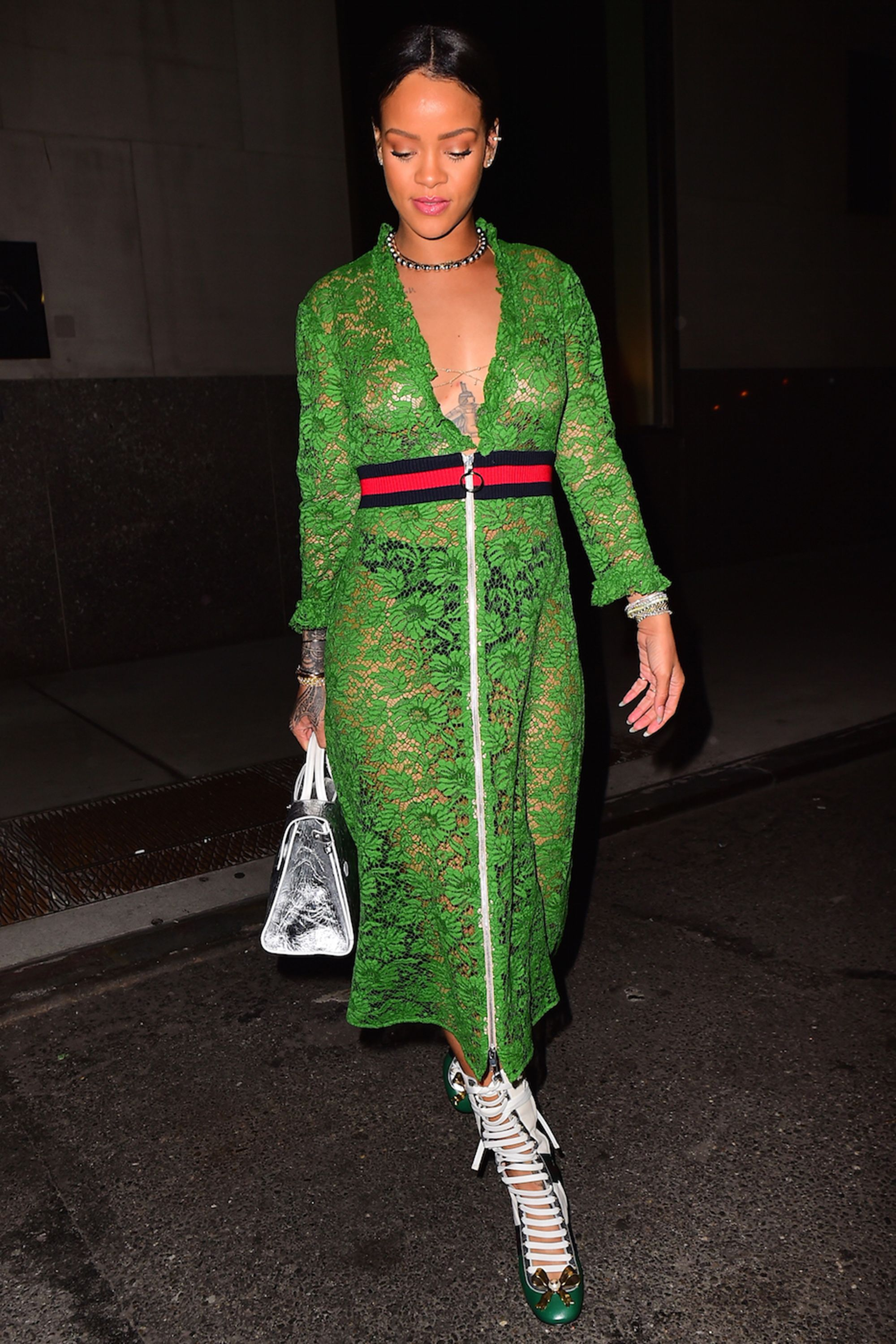 Rihanna was spotted out in NYC on Wednesday evening, as she headed to dinner with family at the Edition Hotel. The  singer put on a stunning display in Gucci SS16, wearing a green, lace dress. &#xA&#x3B;&lt&#x3B;P&gt&#x3B;&#xA&#x3B;Pictured: Rihanna&#xA&#x3B;&lt&#x3B;B&gt&#x3B;Ref: SPL1291404  260516  &lt&#x3B;/B&gt&#x3B;&lt&#x3B;BR/&gt&#x3B;&#xA&#x3B;Picture by: 247PAPS.TV / Splash News&lt&#x3B;BR/&gt&#x3B;&#xA&#x3B;&lt&#x3B;/P&gt&#x3B;&lt&#x3B;P&gt&#x3B;&#xA&#x3B;&lt&#x3B;B&gt&#x3B;Splash News and Pictures&lt&#x3B;/B&gt&#x3B;&lt&#x3B;BR/&gt&#x3B;&#xA&#x3B;Los Angeles:310-821-2666&lt&#x3B;BR/&gt&#x3B;&#xA&#x3B;New York:212-619-2666&lt&#x3B;BR/&gt&#x3B;&#xA&#x3B;London:870-934-2666&lt&#x3B;BR/&gt&#x3B;&#xA&#x3B;photodesk@splashnews.com&lt&#x3B;BR/&gt&#x3B;&#xA&#x3B;&lt&#x3B;/P&gt&#x3B;