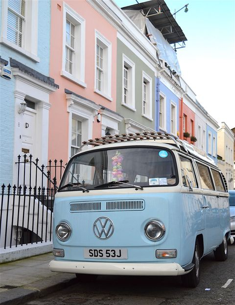 <p>Wandering around Notting Hill is the perfect place to spot rows of pastel houses–and the pretty pastel vintage cars parked outside of them.</p>