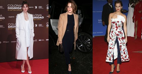 <p>Emma Watson brings a bit of polish to each of her ensembles—even when she's taking chances by pairing a dress over trousers, it's done with grace. </p>