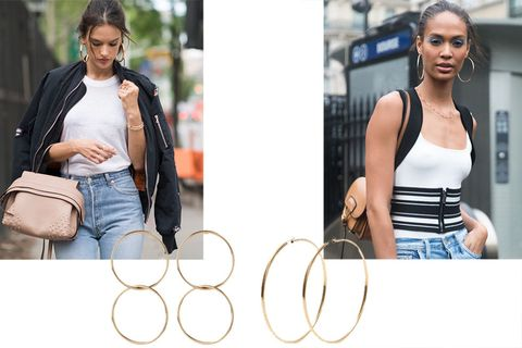 "<p>Supermodels Alessandra Ambrosio and Joan Smalls demonstrate that an oversized gold hoop is the new game changer.</p><p><em>Jennifer Fisher interlocking earrings, $315 (pre-order), <strong><a href=""https://shop.harpersbazaar.com/j/jennifer-fisher/interlocking-smooth-circle-earrings-9699.html"" target=""_blank"">shopBAZAAR.com</a></strong>; Jennifer Fisher hoop earrings, $250, <a href=""https://shop.harpersbazaar.com/j/jennifer-fisher/2in-square-hoop-earrings-9702.html"" target=""_blank""><strong>shopBAZAAR.com</strong></a>.</em><br></p>"
