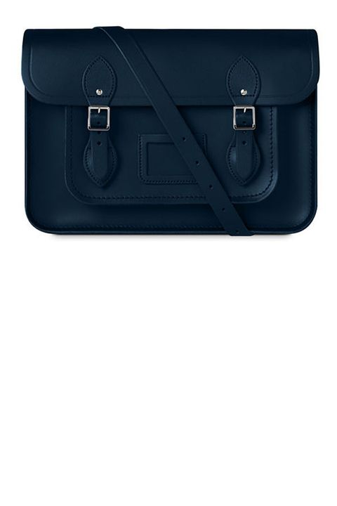 "<p><strong>The Cambridge Satchel Company</strong> bag, $210, <a href=""http://www.cambridgesatchel.com/en-us/all-styles/the-13-inch-satchel-with-magnetic-closure/MAGNS13.html?dwvar_MAGNS13_color=Navy"" target=""_blank"">cambridgesatchel.com</a>. </p>"