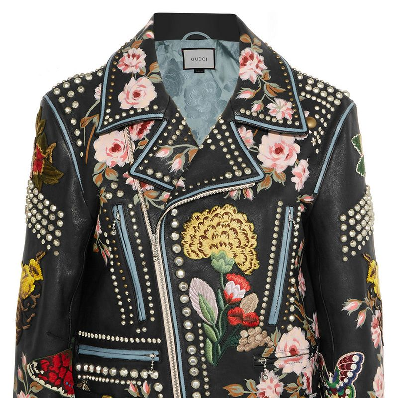 """<p>British women tend to dress in layers more due to weather, which is a good excuse for us to own fabulous statement jackets! This Gucci leather jacket is hand-embroidered and hand-painted so each one is unique.</p><p><br></p><p><em>Gucci Floral jacket, $13,000, <a href=""""https://www.net-a-porter.com/us/en/product/682451?cm_mmc=ProductSearchPLA-_-US-_-Clothing-_-Jackets-Google&gclid=Cj0KEQjwt-G8BRDktsvwpPTn1PkBEiQA-MRsBfOOOf3v5pcs9SMYiYJqKCRrvoULTbE_1DeFDA404MIaAg-b8P8HAQ"""" target=""""_blank""""><strong>net-a-porter.com</strong></a></em></p>"""