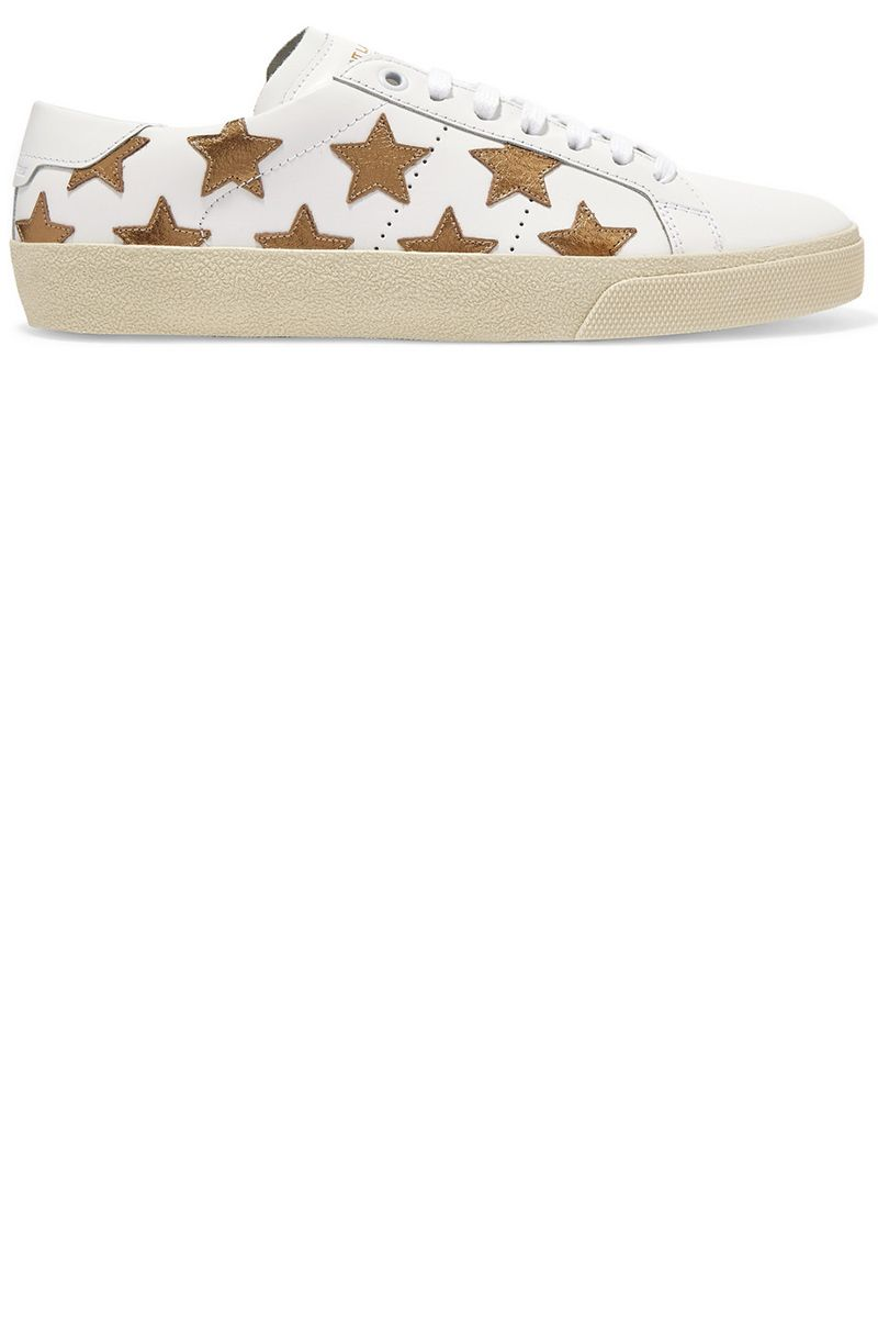 "<p><strong>Saint Laurent </strong>sneakers, $595, <a href=""https://www.net-a-porter.com/us/en/product/721319/saint_laurent/court-classic-appliqued-leather-sneakers"" target=""_blank"">net-a-porter.com</a>.</p>"
