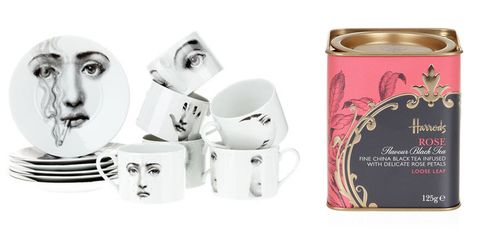 "<p><strong>Fornasetti </strong>tea set, $1,048, <a href=""http://www.farfetch.com/shopping/women/Fornasetti-Tea-set-item-10057866.aspx?fsb=1&utm_source=polyvore.com&utm_medium=affiliate&utm_campaign=Homeware+Group+A_desktop"" target=""_blank"">farfetch.com</a>; <strong>Harrods</strong> Rose tea, $11, <a href=""http://www.harrods.com/product/rose-flavour-loose-leaf-black-tea-125g/harrods/000000000003439363"" target=""_blank"">harrods.com</a>.</p>"
