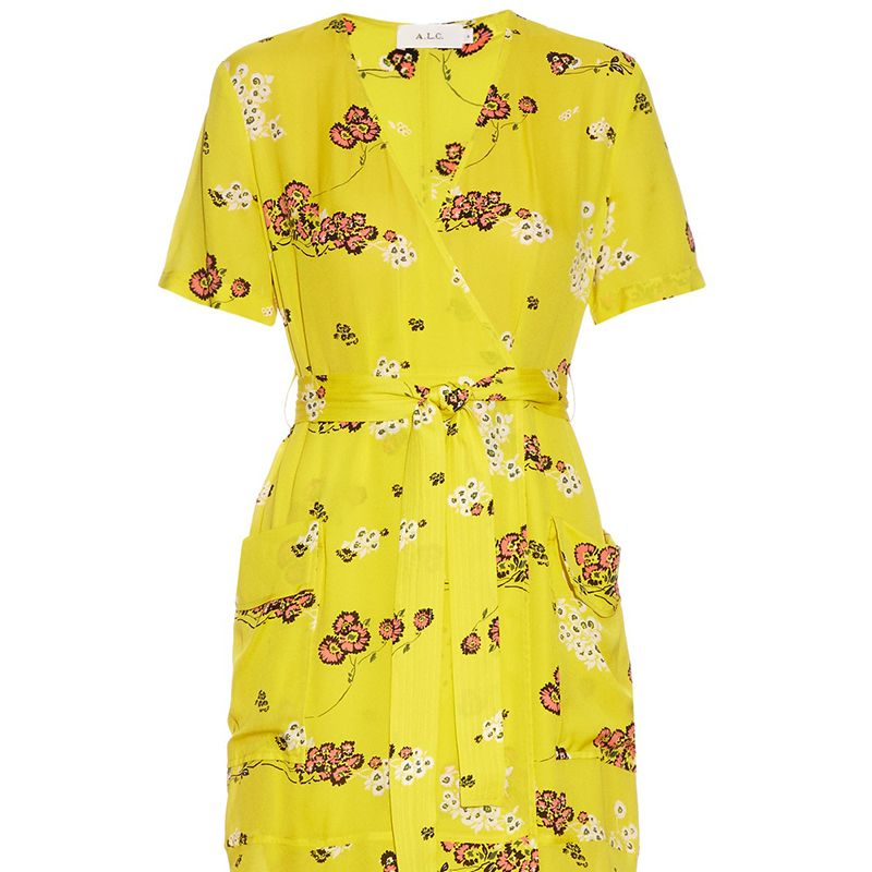 """<p><strong>A.L.C. </strong>dress, $660, <a href=""""http://www.matchesfashion.com/us/products/A-L-C--Stephanie-floral-print-silk-crepe-wrap-dress-1055004"""" target=""""_blank"""">matchesfashion.com</a>. </p>"""