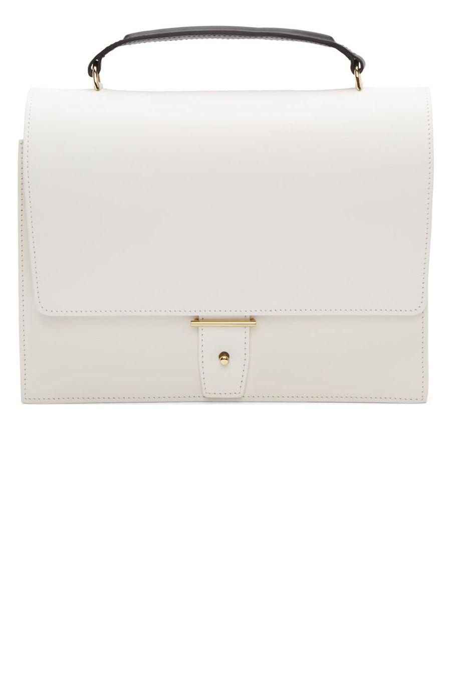 "<p><strong>PB 0110</strong> bag, $878, <a href=""http://shop.pb0110.de/en/women/ab3-handbag-white-leather.html"" target=""_blank"">pb0110.de</a>. </p>"