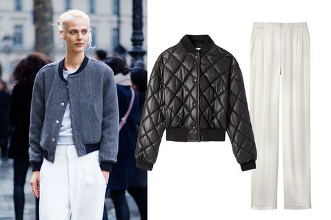 <p>Contrast elegant trousers with sporty elements like a bomber jacket, elevating street fashion to new heights. It's a look that has staying power, whatever the season.</p><p><strong>Stella McCartney</strong> jacket, $1,240, 212-255-1556; <strong>DKNY</strong> pants, $315, 646-613-1100.</p>